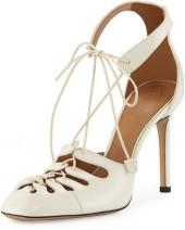the Row Diamond Cutout Leather Lace-Up Pump