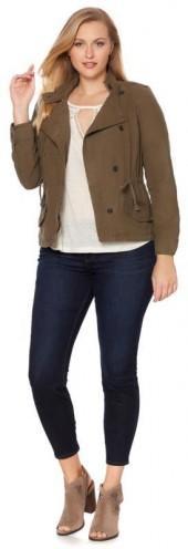 Lucky Brand Asymmetric Military Jacket - Plus