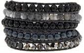 Chan Luu Black Mixed Stone Black Leather Multi Wrap Bracelet