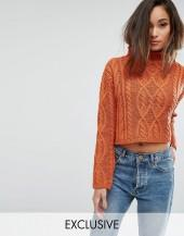 PrettyLittleThing Cable Knit Cropped Sweater