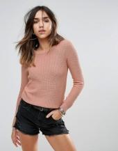 Brave Soul Round Neck Sweater In Heavy Rib