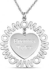 "Mother's Engravable Repeating ""MOM"" Frame Heart Dangle Pendant in 10K White Gold (1-3 Names)"