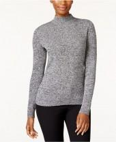 Karen Scott Petite Marled Mock-Neck Cotton Sweater, Created for Macy's