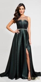 Terani Couture Pleated Jacquard Rhinestone Encrusted A-line Evening Dress