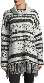 Willow & Clay Fringed-Trim Cowl-Neck Sweater