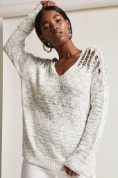 FOREVER 21 Distressed Marled Knit Sweater