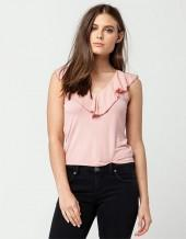 FULL TILT Crinkle Ruffle Womens Top