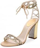 Rene Caovilla Crystal-Studded 90mm Ankle-Tie Sandal, Gold