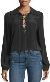 FRAME Denim Lace-Up Silk Blouse, Noir