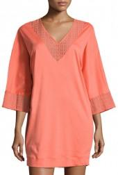 Hanro Mathilde 3/4-Sleeve Sleepshirt, Coral