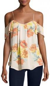 JOIE Adorlee Cold-Shoulder Floral-Print Silk Top, Orange