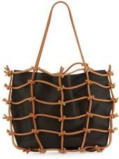 Urban Zen Caged Leather Tote Bag, Black