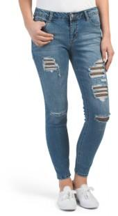 Juniors Fishnet Destructed Jeans