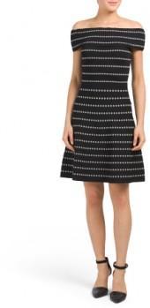 Dot Stripe Off The Shoulder Sweater Dress