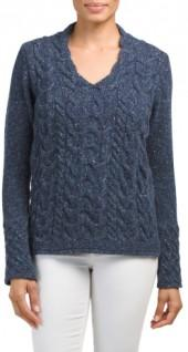 Made In Ireland Wool Blend Cable Edge Sweater