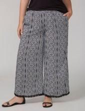 Fast Lane Printed Wide-Leg Soft Pant with Crochet
