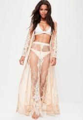 Premium Nude Eyelash Lace Maxi Kimono