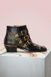 Chloe Susanna Nappa Sheepskin Ankle Boots