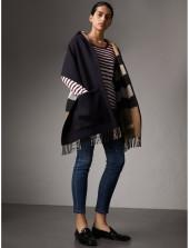 Burberry Check-lined Wool Cashmere Hooded Stole