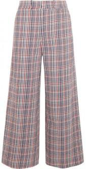 Joseph - Ferrandi Checked Cotton-tweed Wide-leg Pants - Blue