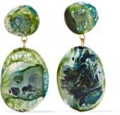 Dinosaur Designs - Gold-tone Resin Earrings - Green