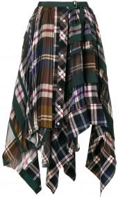 Sacai Plaid and Pleated Asymmetrical Skirt