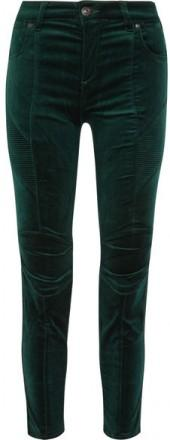 Pierre Balmain - Stretch Cotton-blend Velvet Skinny Pants - Emerald