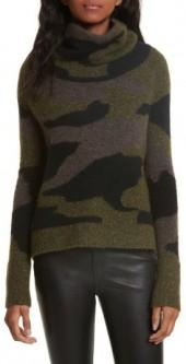 Women's Veronica Beard Davis Camo Print Turtleneck Sweater