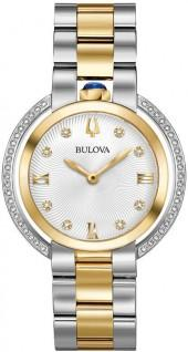 Ladiesâ€TM Bulova Rubaiyat Diamond Accent Two-Tone Watch with Silver-White Dial (Model: 98R246)