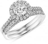 1-1/6 CT. T.W. Diamond Frame Bridal Set in 14K White Gold