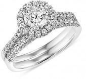 1-1/6 CT. T.W. Diamond Frame Bridal Set in 14K White Gold