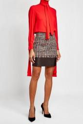 Alexander McQueen Tweed Skirt with Leather