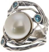 Sterling Silver 11.5mm Pearl and Blue Apatite Ring