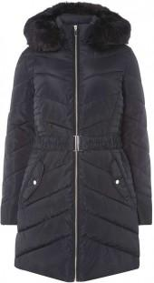 **Tall Navy Luxe Padded Jacket with Belt