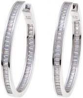 4.8ctw Absolute Sterling Silver Baguette Channel Inside-Outside Hoop Earrings