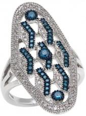 Rarities Fine Jewelry with Carol Brodie Rarities: Fine Jewelry with Carol Brodie 0.5ctw White and Blue Diamond Chevron-Design Ring