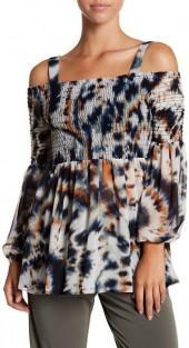 BCBGeneration Smocked Cold Shoulder Chiffon Blouse