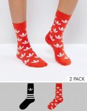 Adidas adidas Originals 2 Pack Trefoil Print Socks In Red
