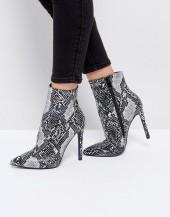 Public Desire Harlee Snake Print Pointed Ankle Boots