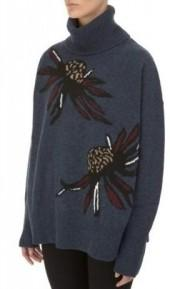 Markus Lupfer Oversized Intarsia Flowers Turtleneck Navy