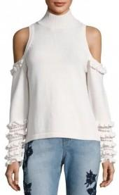 Jonathan Simkhai Crochet Ruffle Cold Shoulder Sweater Bone