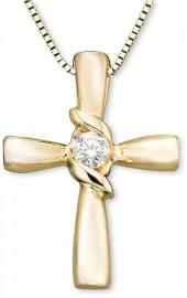 Sirena 14k Gold Diamond Cross Pendant (1/10 ct. t.w.)
