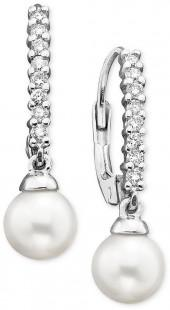 Belle de Mer 14k White Gold Earrings, Diamond (1/4 ct. t.w.) and Cultured Freshwater Pearl Drop (8mm)