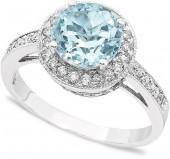 Macy's 14k White Gold Round-Cut Aquamarine (1-3/4 ct. t.w.) & Diamond (1/3 ct. t.w.) Ring
