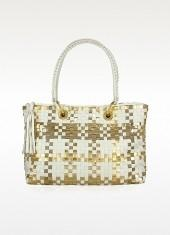 Fontanelli White & Gold Woven Italian Leather Large Tote Bag
