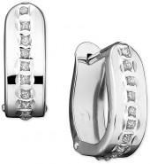 14k White Gold Diamond Accent Pavé Oval Hinged Hoop Earrings