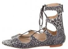 Loeffler Randall Embossed Lace-Up Sandals