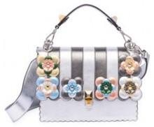Fendi Kan I Floral-Detail Metallic Leather Shoulder Bag
