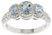QVC As Is 0.55 ct tw Santa Maria Aquamarine & Diamond Ring, 14K Gold