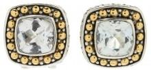 Samuel B Jewelry 18K Gold & Sterling Silver Beaded White Topaz Cushion Earrings
